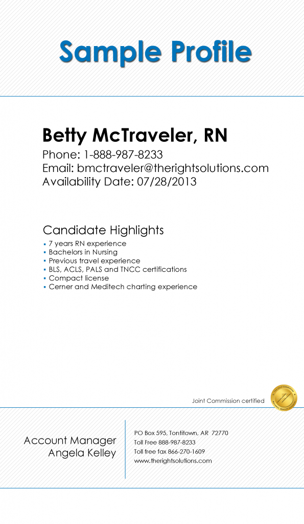 Travel Nurse sample profile